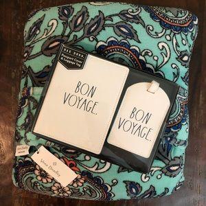 Vera Bradley Travel Blanket & Rae Dunn Luggage Tag